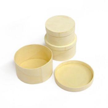 三件式圓形樹皮盒
